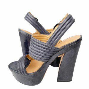 L.A.M.B. Pewter leather platform sandals